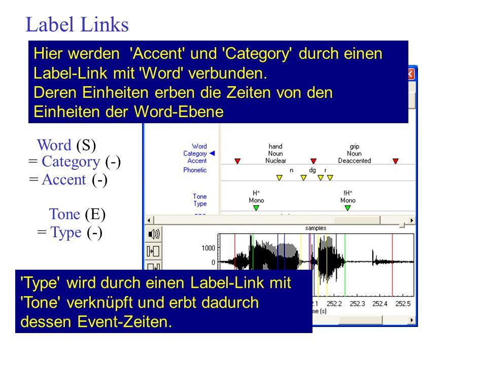 Label Links Hier werden 'Accent' und 'Category' durch einen Label-Link mit 'Word' verbunden. Deren Einheiten erben die Zeiten von den Einheiten der Wo