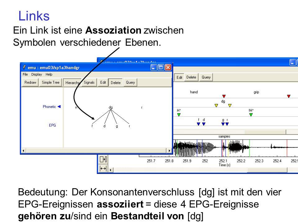 One-to-many und many-to-many Links one-to-many: eine Einheit der Phonetic- Ebene kann aus mehreren Einheiten der EPG-Ebene bestehen, aber nicht umgekehrt.