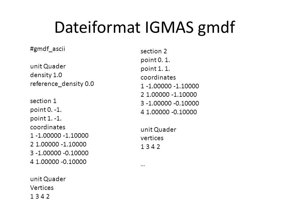 Dateiformat IGMAS gmdf #gmdf_ascii unit Quader density 1.0 reference_density 0.0 section 1 point 0. -1. point 1. -1. coordinates 1 -1.00000 -1.10000 2