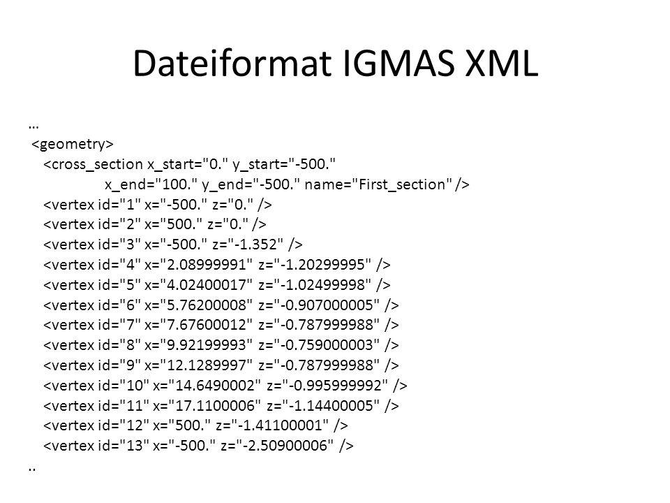 Dateiformat IGMAS XML … <cross_section x_start=