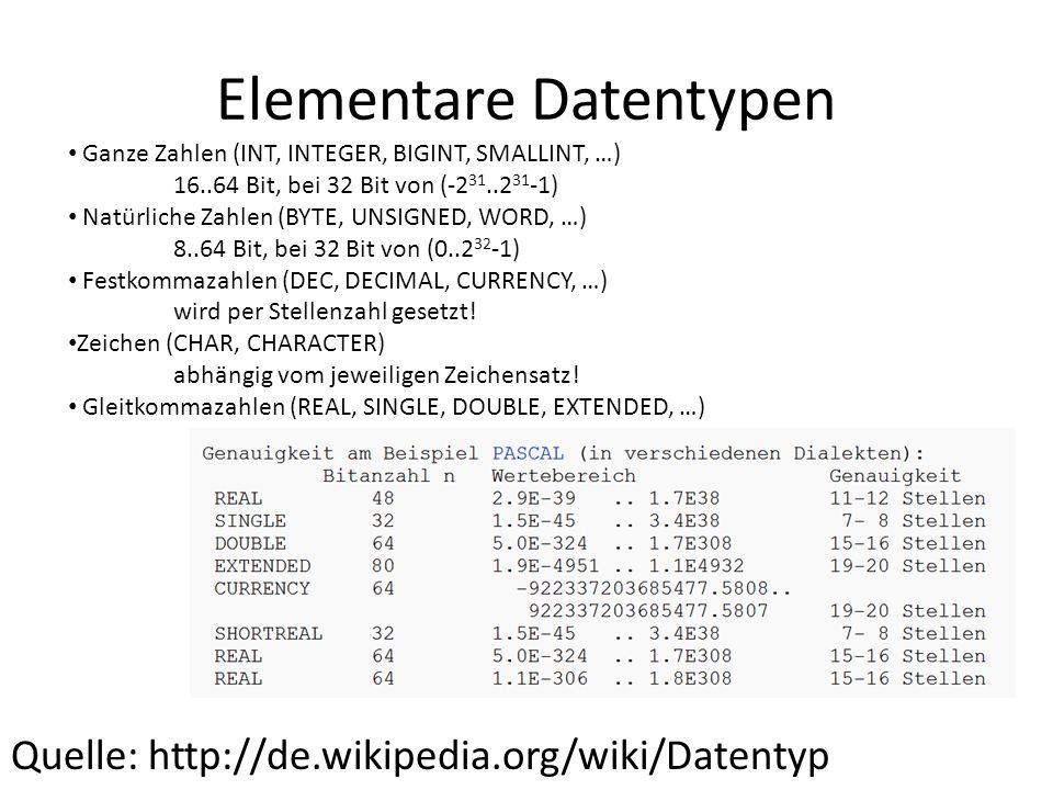 Elementare Datentypen Quelle: http://de.wikipedia.org/wiki/Datentyp Ganze Zahlen (INT, INTEGER, BIGINT, SMALLINT, …) 16..64 Bit, bei 32 Bit von (-2 31