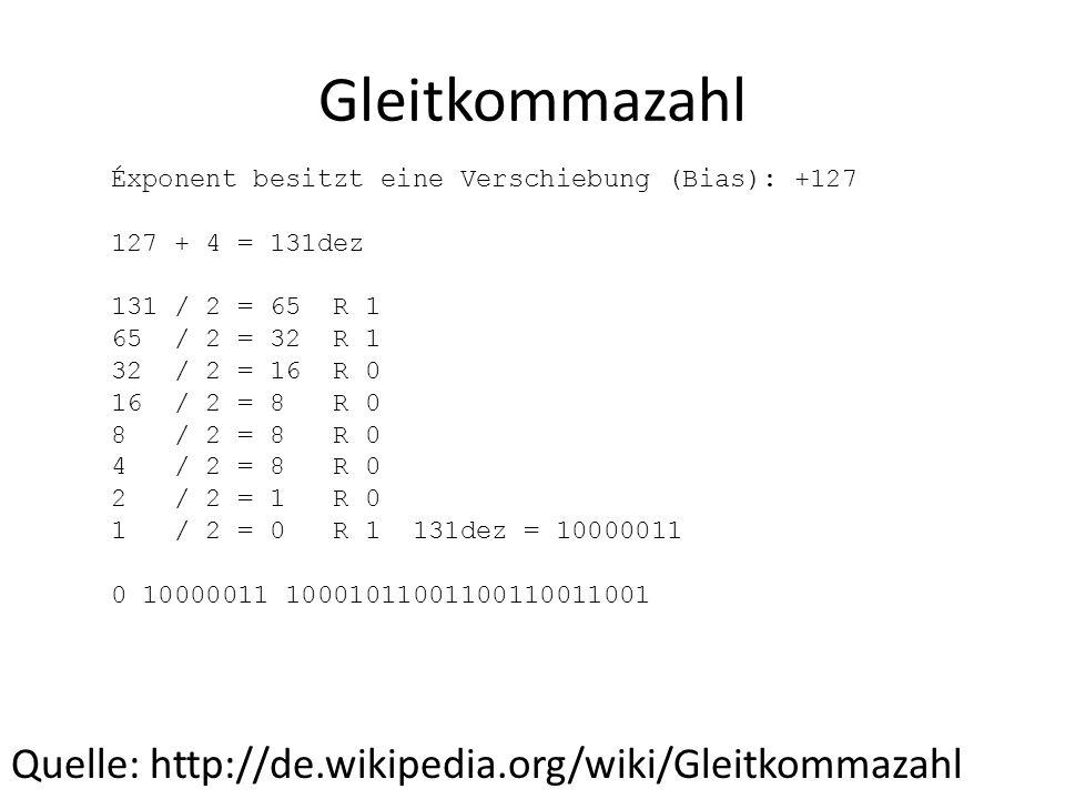 Gleitkommazahl Quelle: http://de.wikipedia.org/wiki/Gleitkommazahl Éxponent besitzt eine Verschiebung (Bias): +127 127 + 4 = 131dez 131 / 2 = 65 R 1 6
