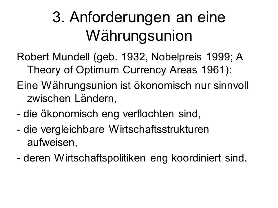 Anforderungen an die Wirtschaftspolitiken : Konvergente Volkswirtschaften mit starken politischen Kooperationsstrukturen Gemeinsame Geldpolitik (Zentralbank) Koordination der nationalen Finanzpolitiken (Staatsverschuldung) Produktivitätsorientierte Lohnpolitiken