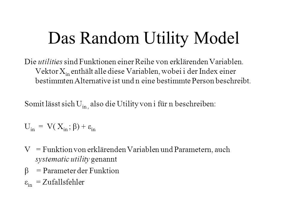 Das Random Utility Model Die utilities sind Funktionen einer Reihe von erklärenden Variablen. Vektor X in enthält alle diese Variablen, wobei i der In