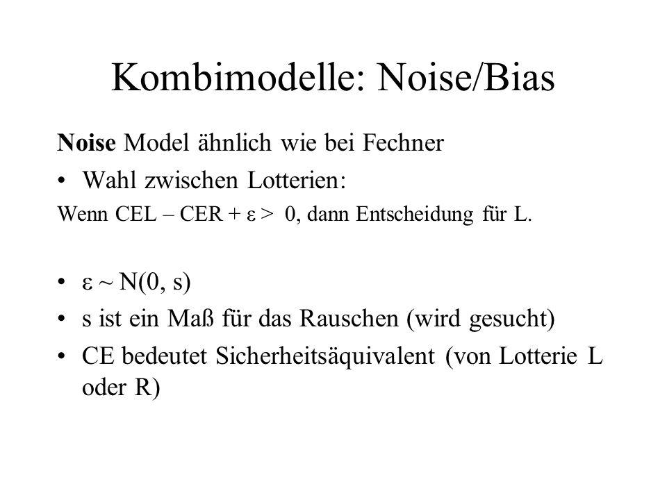 Kombimodelle: Noise/Bias Noise Model ähnlich wie bei Fechner Wahl zwischen Lotterien: Wenn CEL – CER + ε > 0, dann Entscheidung für L. ε ~ N(0, s) s i
