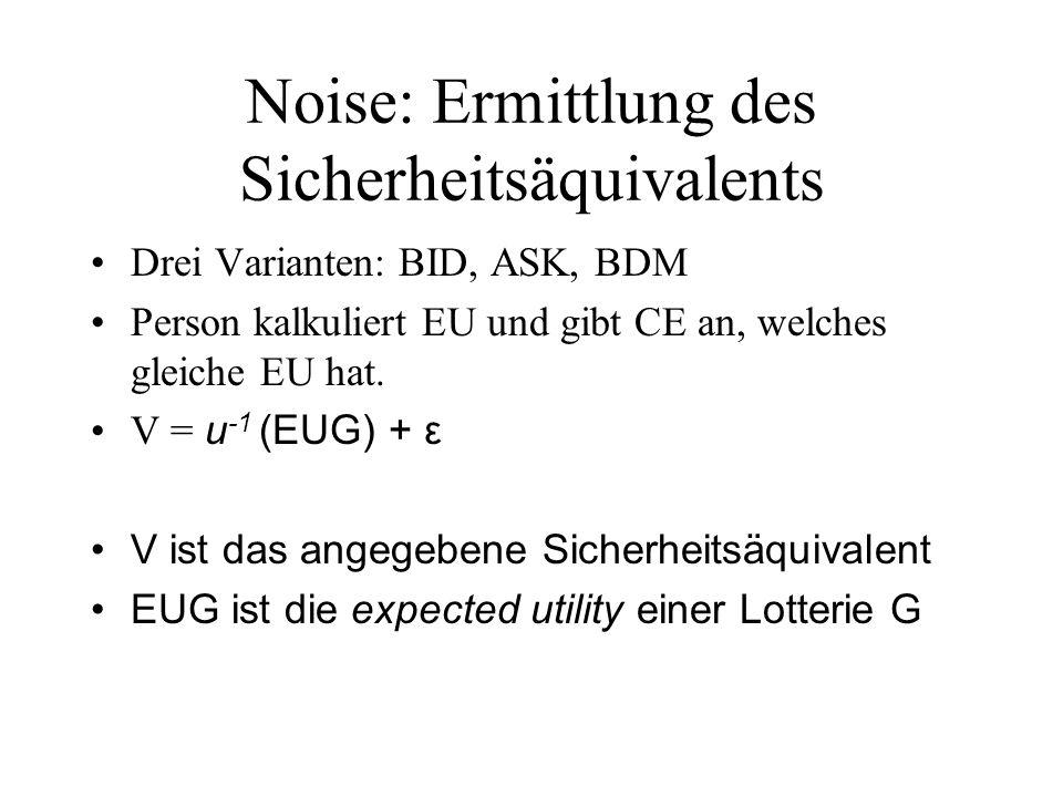 Noise: Ermittlung des Sicherheitsäquivalents Drei Varianten: BID, ASK, BDM Person kalkuliert EU und gibt CE an, welches gleiche EU hat. V = u -1 (EUG)