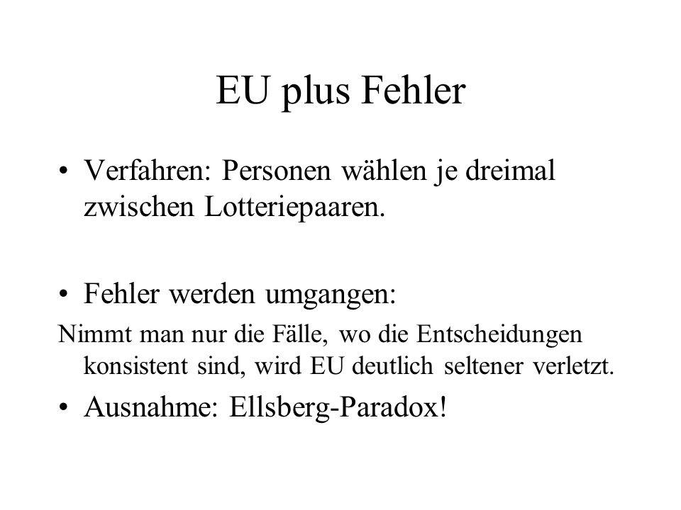 EU plus Fehler Verfahren: Personen wählen je dreimal zwischen Lotteriepaaren. Fehler werden umgangen: Nimmt man nur die Fälle, wo die Entscheidungen k