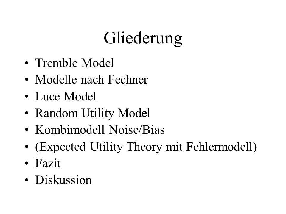 Gliederung Tremble Model Modelle nach Fechner Luce Model Random Utility Model Kombimodell Noise/Bias (Expected Utility Theory mit Fehlermodell) Fazit