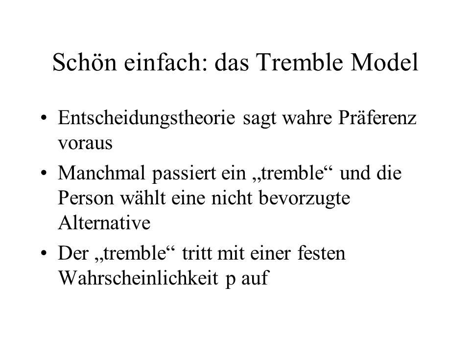 Schön einfach: das Tremble Model Entscheidungstheorie sagt wahre Präferenz voraus Manchmal passiert ein tremble und die Person wählt eine nicht bevorz