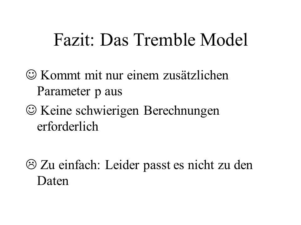 Fazit: Das Tremble Model Kommt mit nur einem zusätzlichen Parameter p aus Keine schwierigen Berechnungen erforderlich Zu einfach: Leider passt es nich