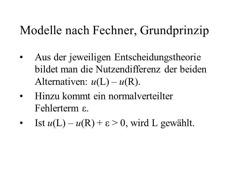 Modelle nach Fechner, Grundprinzip Aus der jeweiligen Entscheidungstheorie bildet man die Nutzendifferenz der beiden Alternativen: u(L) – u(R). Hinzu