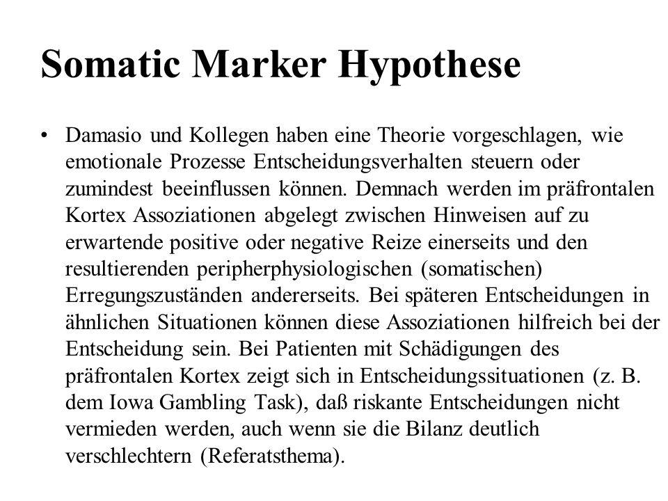 Somatic Marker Hypothese Damasio und Kollegen haben eine Theorie vorgeschlagen, wie emotionale Prozesse Entscheidungsverhalten steuern oder zumindest