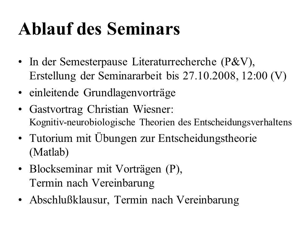 Ablauf des Seminars In der Semesterpause Literaturrecherche (P&V), Erstellung der Seminararbeit bis 27.10.2008, 12:00 (V) einleitende Grundlagenvorträ