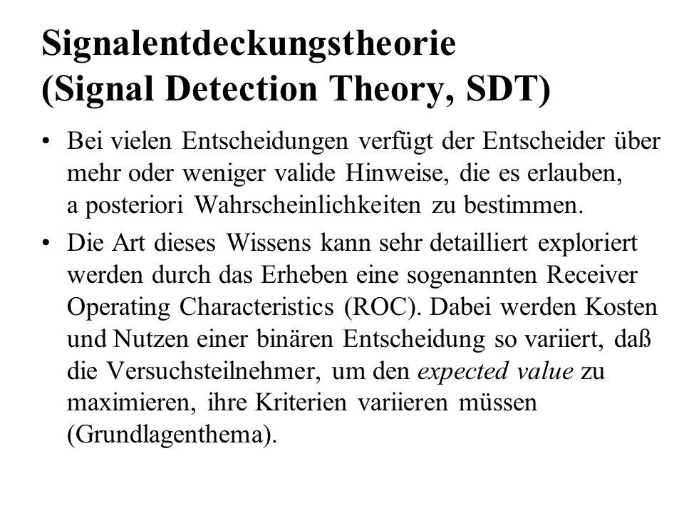 Signalentdeckungstheorie (Signal Detection Theory, SDT) Bei vielen Entscheidungen verfügt der Entscheider über mehr oder weniger valide Hinweise, die