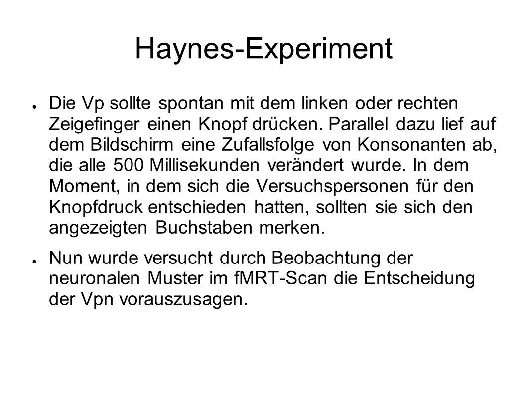 Haynes-Experiment Die Vp sollte spontan mit dem linken oder rechten Zeigefinger einen Knopf drücken. Parallel dazu lief auf dem Bildschirm eine Zufall