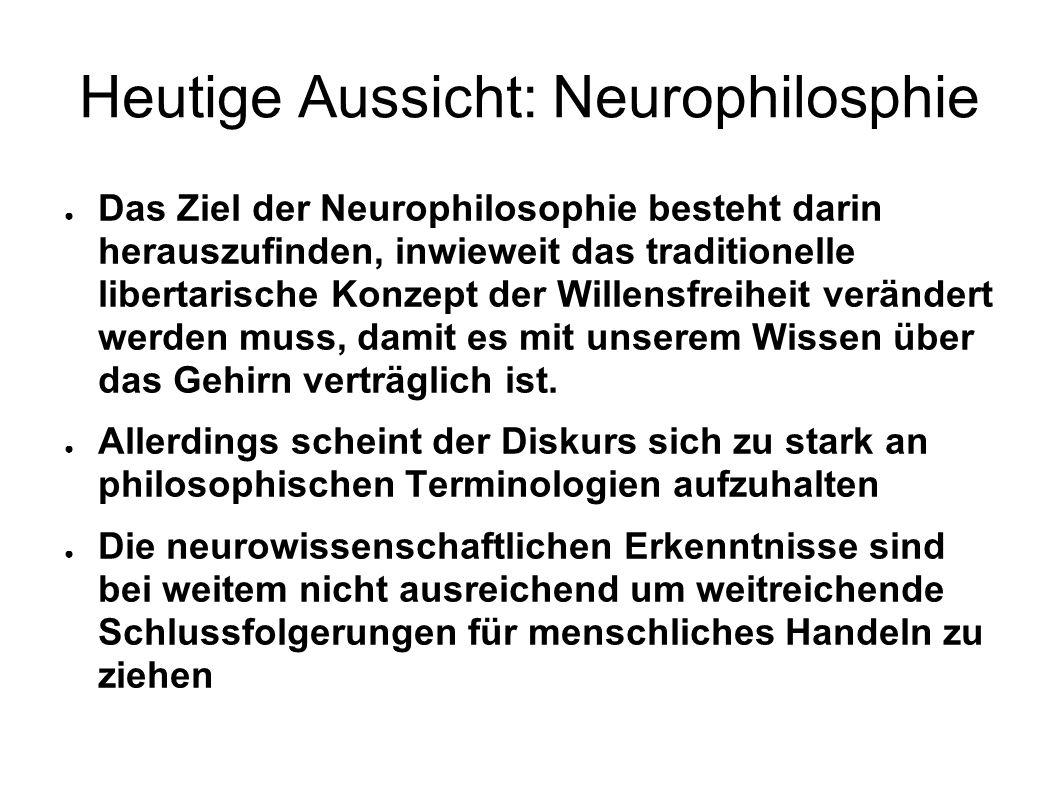 Heutige Aussicht: Neurophilosphie Das Ziel der Neurophilosophie besteht darin herauszufinden, inwieweit das traditionelle libertarische Konzept der Wi