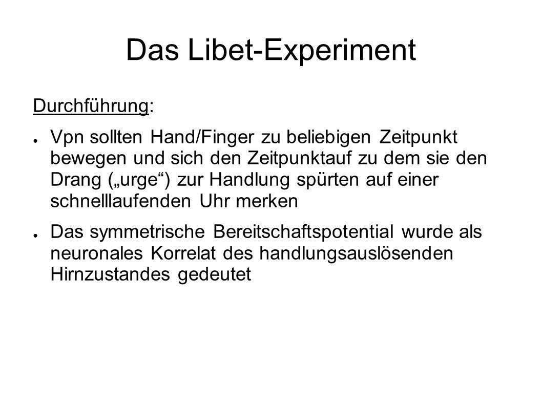 Das Libet-Experiment Durchführung: Vpn sollten Hand/Finger zu beliebigen Zeitpunkt bewegen und sich den Zeitpunktauf zu dem sie den Drang (urge) zur H