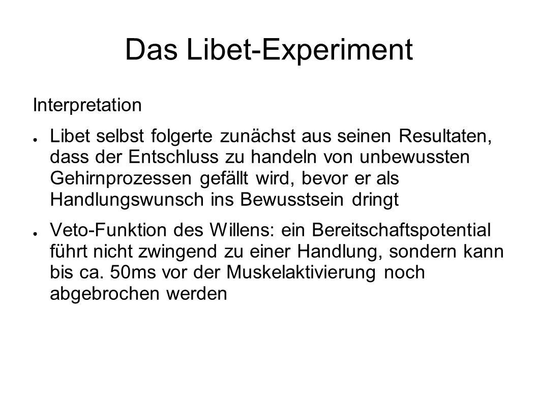 Das Libet-Experiment Interpretation Libet selbst folgerte zunächst aus seinen Resultaten, dass der Entschluss zu handeln von unbewussten Gehirnprozess
