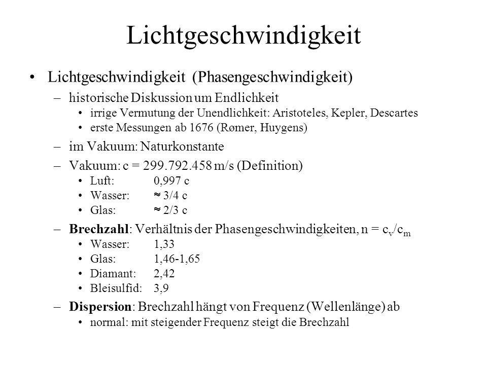 Brechung Metapher: Marschkolonne niedrige Brechzahl hohe Geschwindigkeit z.B.