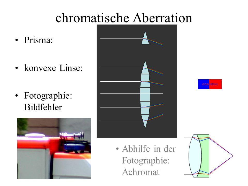 chromatische Aberration Prisma: konvexe Linse: Fotographie: Bildfehler Abhilfe in der Fotographie: Achromat Aberration