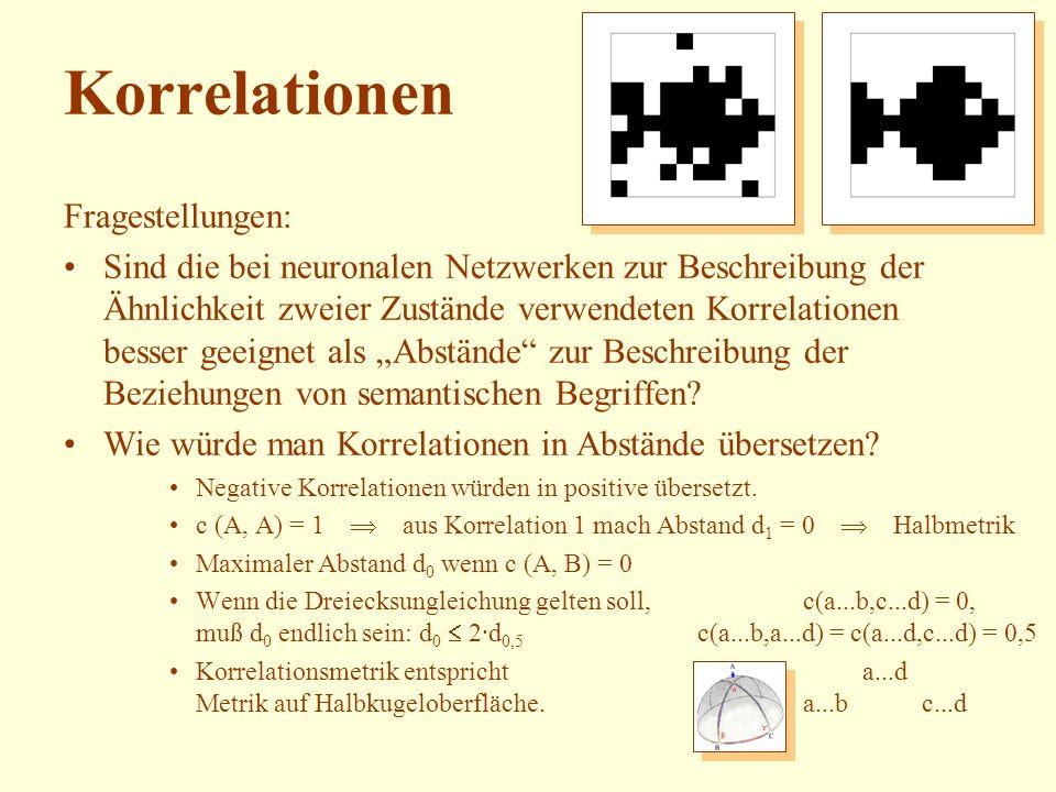 Korrelationen Fragestellungen: Sind die bei neuronalen Netzwerken zur Beschreibung der Ähnlichkeit zweier Zustände verwendeten Korrelationen besser ge