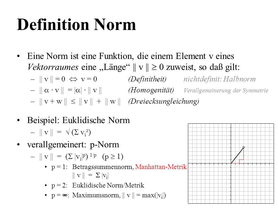 Definition Norm Eine Norm ist eine Funktion, die einem Element v eines Vektorraumes eine Länge || v || 0 zuweist, so daß gilt: –|| v || = 0 v = 0(Defi
