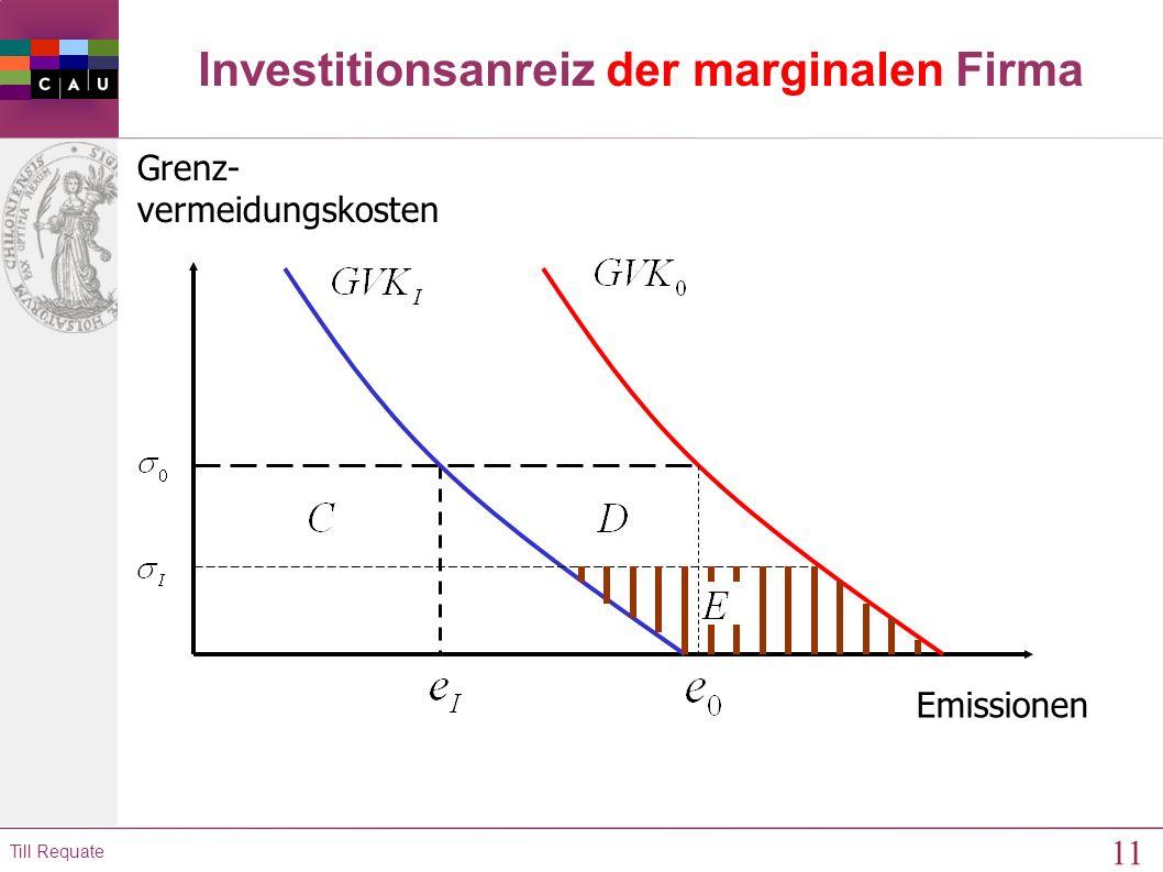 10 Till Requate Kostenreduktion, wenn alle Unternehmen investieren Emissionen Grenz- vermeidungskosten