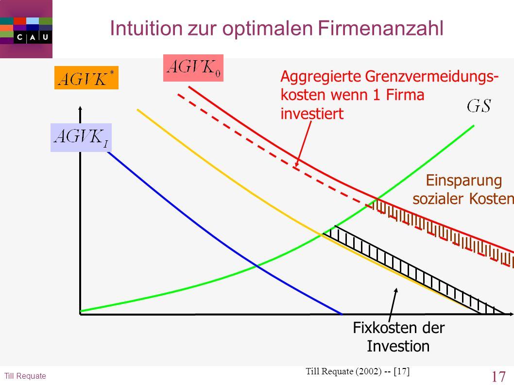16 Till Requate Intuition zur optimalen Firmenanzahl Till Requate (2002) -- [16] Einsparung sozialer Kosten Aggregierte Grenzvermeidungs- kosten wenn