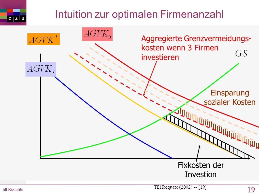 18 Till Requate Intuition zur optimalen Firmenanzahl Till Requate (2002) -- [18] Einsparung sozialer Kosten Aggregierte Grenzvermeidungs- kosten wenn