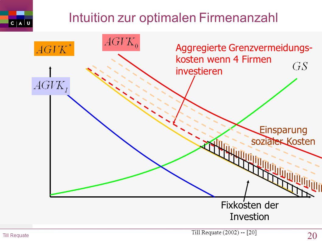 19 Till Requate Intuition zur optimalen Firmenanzahl Till Requate (2002) -- [19] Einsparung sozialer Kosten Aggregierte Grenzvermeidungs- kosten wenn