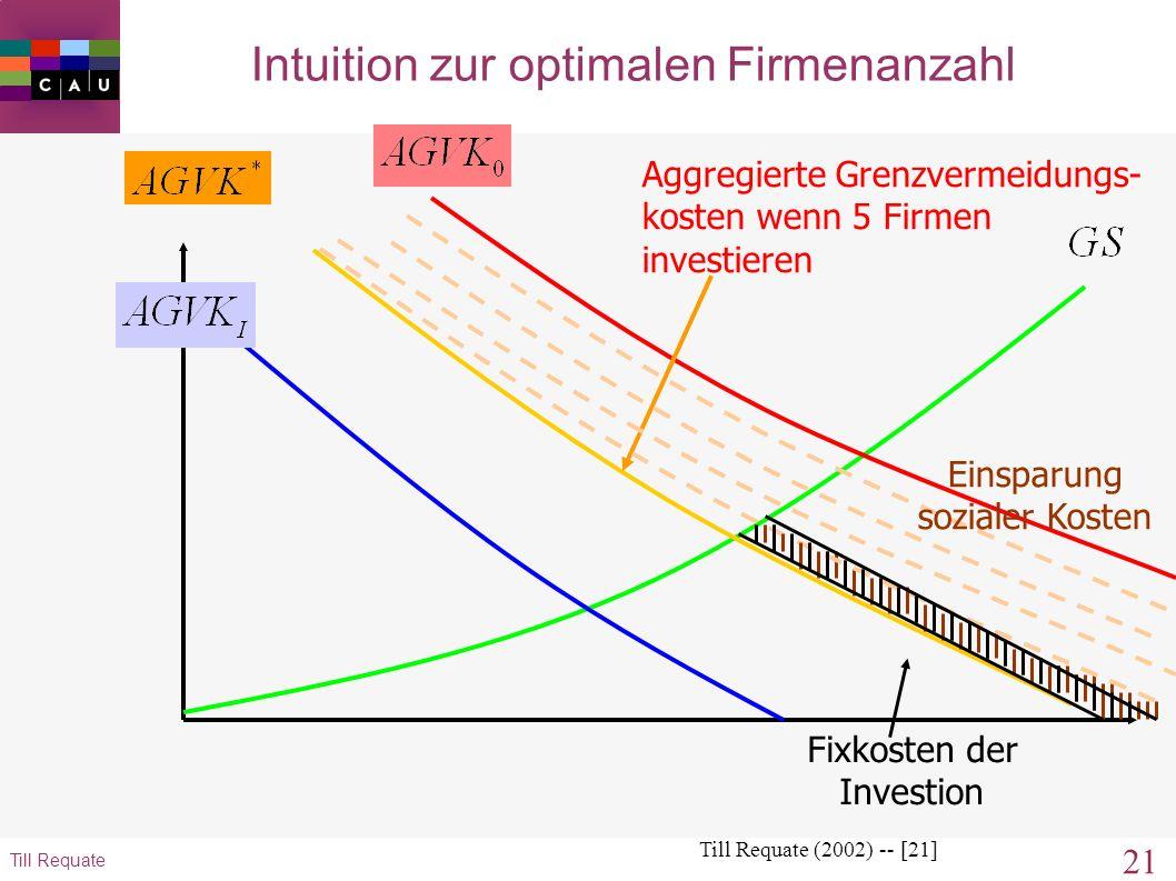 20 Till Requate Intuition zur optimalen Firmenanzahl Till Requate (2002) -- [20] Einsparung sozialer Kosten Aggregierte Grenzvermeidungs- kosten wenn
