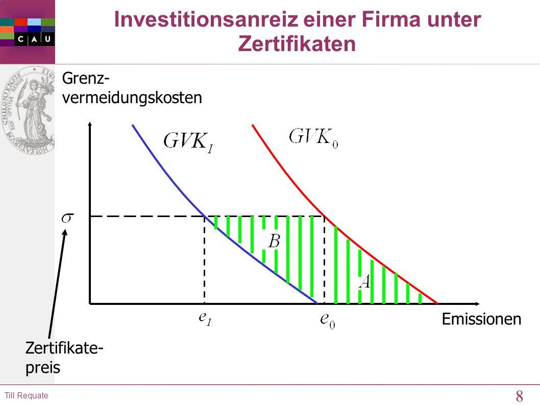 7 Till Requate 9.2 Anreize zur Adoption neuer Technologien Investition in neue Technologie lohnt sich, wenn gilt: wobei p = Preis für Emissionen (Steu