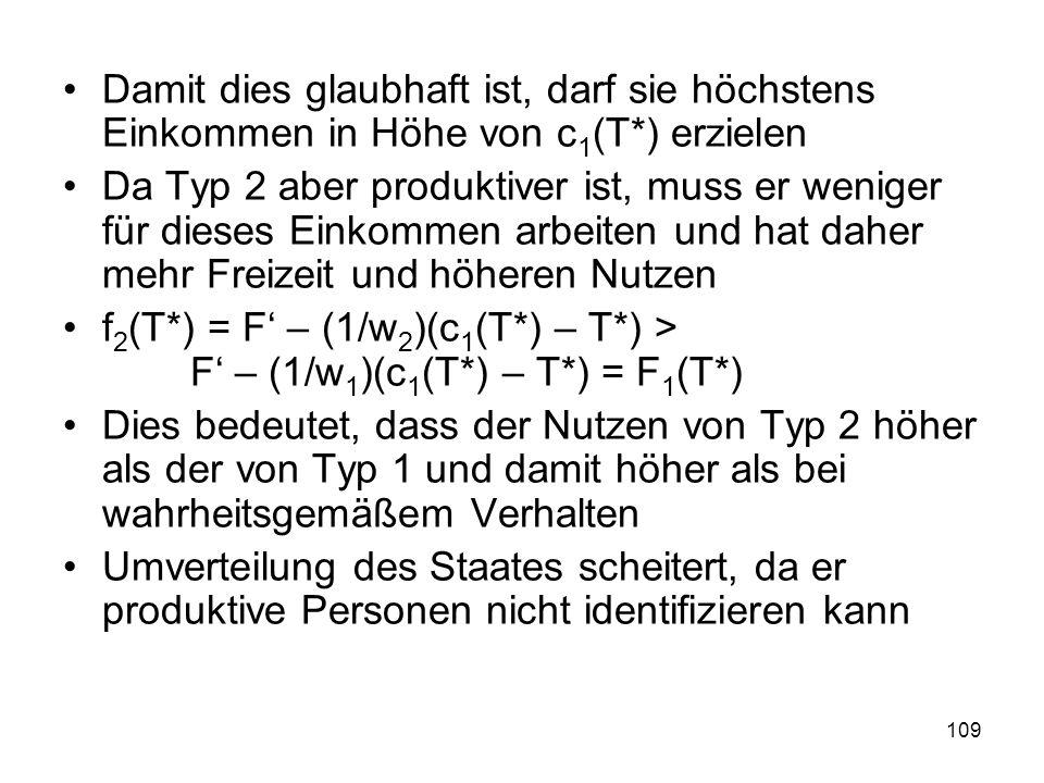109 Damit dies glaubhaft ist, darf sie höchstens Einkommen in Höhe von c 1 (T*) erzielen Da Typ 2 aber produktiver ist, muss er weniger für dieses Einkommen arbeiten und hat daher mehr Freizeit und höheren Nutzen f 2 (T*) = F – (1/w 2 )(c 1 (T*) – T*) > F – (1/w 1 )(c 1 (T*) – T*) = F 1 (T*) Dies bedeutet, dass der Nutzen von Typ 2 höher als der von Typ 1 und damit höher als bei wahrheitsgemäßem Verhalten Umverteilung des Staates scheitert, da er produktive Personen nicht identifizieren kann