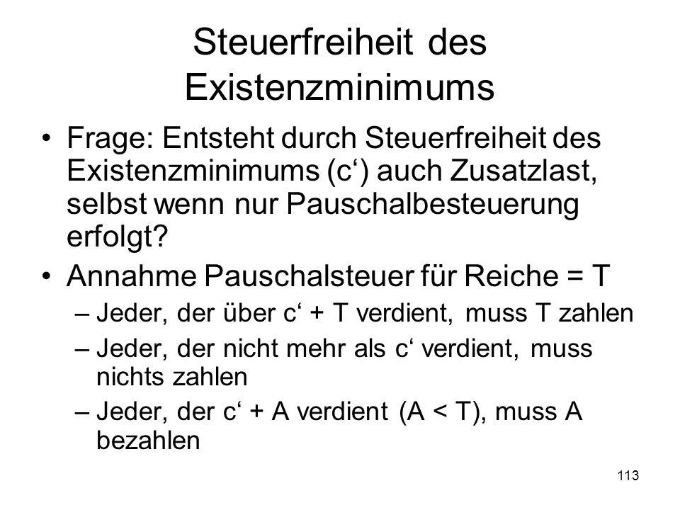113 Steuerfreiheit des Existenzminimums Frage: Entsteht durch Steuerfreiheit des Existenzminimums (c) auch Zusatzlast, selbst wenn nur Pauschalbesteuerung erfolgt.