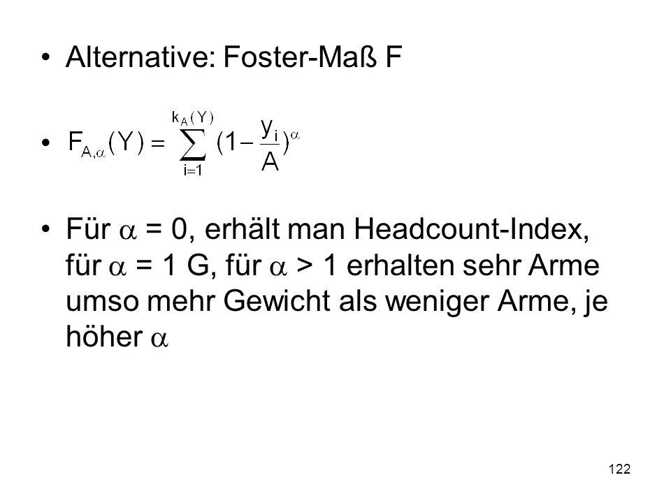 122 Alternative: Foster-Maß F Für = 0, erhält man Headcount-Index, für = 1 G, für > 1 erhalten sehr Arme umso mehr Gewicht als weniger Arme, je höher