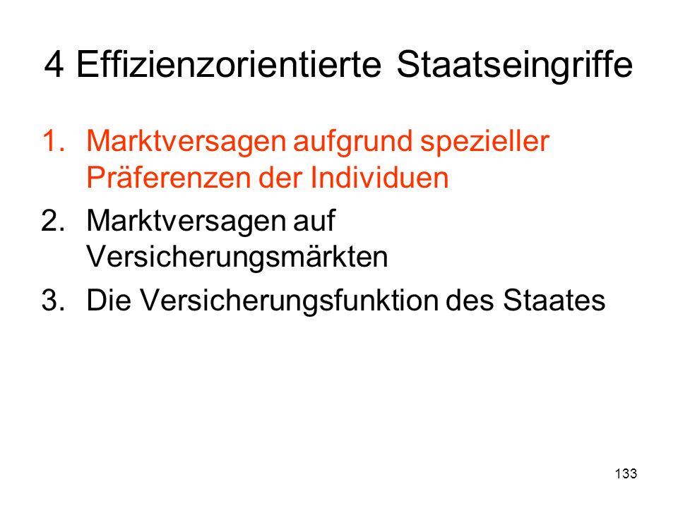 133 4 Effizienzorientierte Staatseingriffe 1.Marktversagen aufgrund spezieller Präferenzen der Individuen 2.Marktversagen auf Versicherungsmärkten 3.Die Versicherungsfunktion des Staates