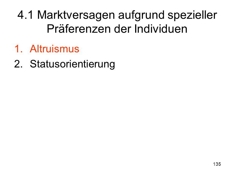 135 1.Altruismus 2.Statusorientierung 4.1 Marktversagen aufgrund spezieller Präferenzen der Individuen
