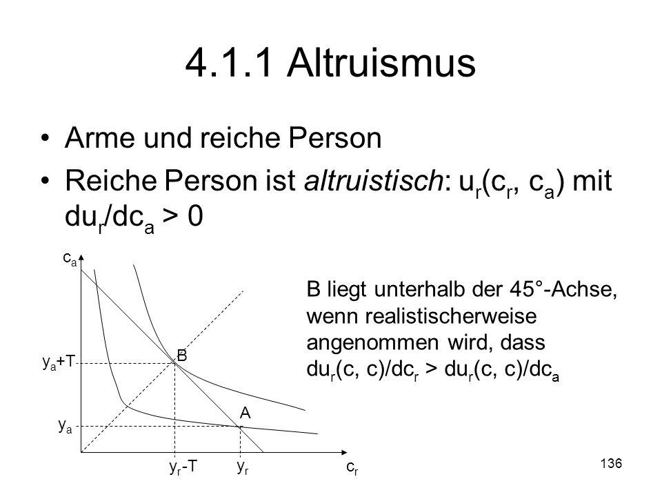 136 4.1.1 Altruismus Arme und reiche Person Reiche Person ist altruistisch: u r (c r, c a ) mit du r /dc a > 0 A yryr yaya crcr caca B yryr -T yaya +T B liegt unterhalb der 45°-Achse, wenn realistischerweise angenommen wird, dass du r (c, c)/dc r > du r (c, c)/dc a