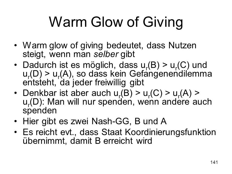 141 Warm Glow of Giving Warm glow of giving bedeutet, dass Nutzen steigt, wenn man selber gibt Dadurch ist es möglich, dass u r (B) > u r (C) und u r (D) > u r (A), so dass kein Gefangenendilemma entsteht, da jeder freiwillig gibt Denkbar ist aber auch u r (B) > u r (C) > u r (A) > u r (D): Man will nur spenden, wenn andere auch spenden Hier gibt es zwei Nash-GG, B und A Es reicht evt., dass Staat Koordinierungsfunktion übernimmt, damit B erreicht wird