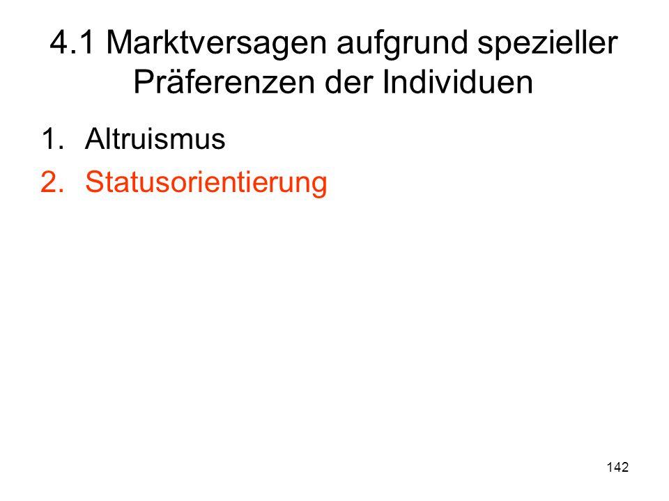 142 1.Altruismus 2.Statusorientierung 4.1 Marktversagen aufgrund spezieller Präferenzen der Individuen