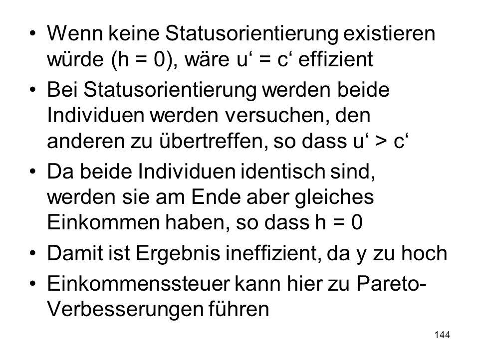 144 Wenn keine Statusorientierung existieren würde (h = 0), wäre u = c effizient Bei Statusorientierung werden beide Individuen werden versuchen, den anderen zu übertreffen, so dass u > c Da beide Individuen identisch sind, werden sie am Ende aber gleiches Einkommen haben, so dass h = 0 Damit ist Ergebnis ineffizient, da y zu hoch Einkommenssteuer kann hier zu Pareto- Verbesserungen führen