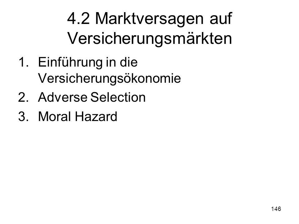146 4.2 Marktversagen auf Versicherungsmärkten 1.Einführung in die Versicherungsökonomie 2.Adverse Selection 3.Moral Hazard