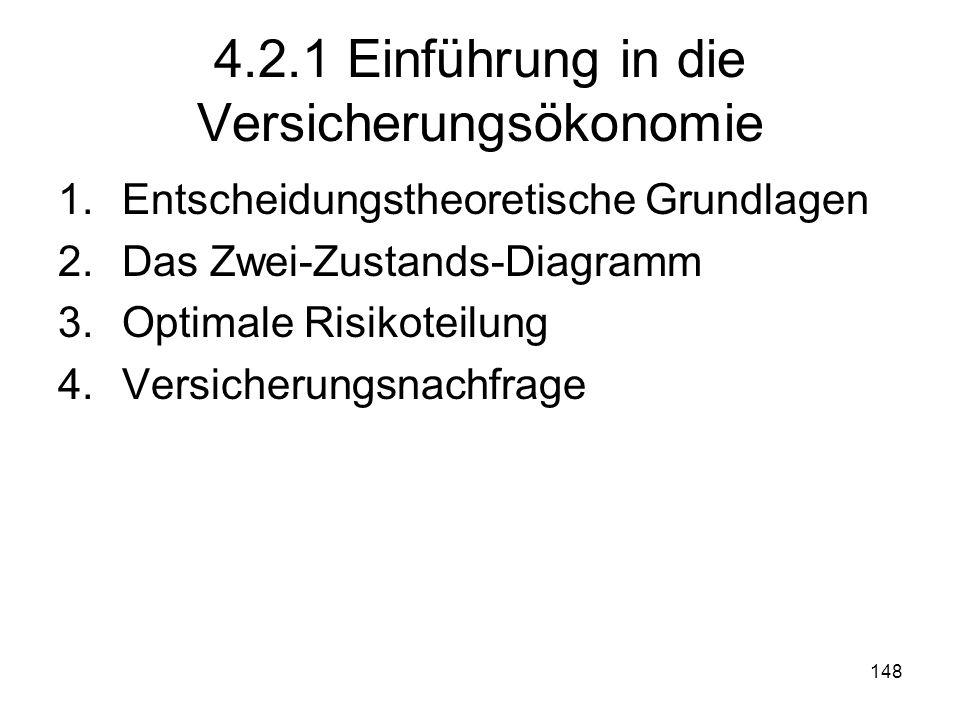 148 4.2.1 Einführung in die Versicherungsökonomie 1.Entscheidungstheoretische Grundlagen 2.Das Zwei-Zustands-Diagramm 3.Optimale Risikoteilung 4.Versicherungsnachfrage
