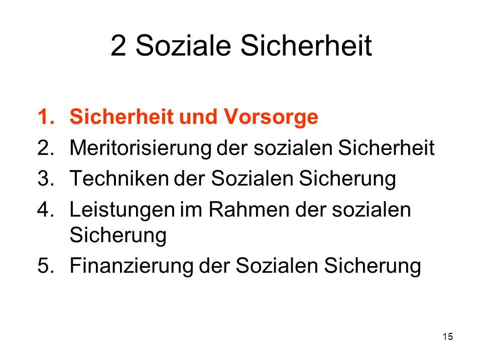 15 2 Soziale Sicherheit 1.Sicherheit und Vorsorge 2.Meritorisierung der sozialen Sicherheit 3.Techniken der Sozialen Sicherung 4.Leistungen im Rahmen der sozialen Sicherung 5.Finanzierung der Sozialen Sicherung