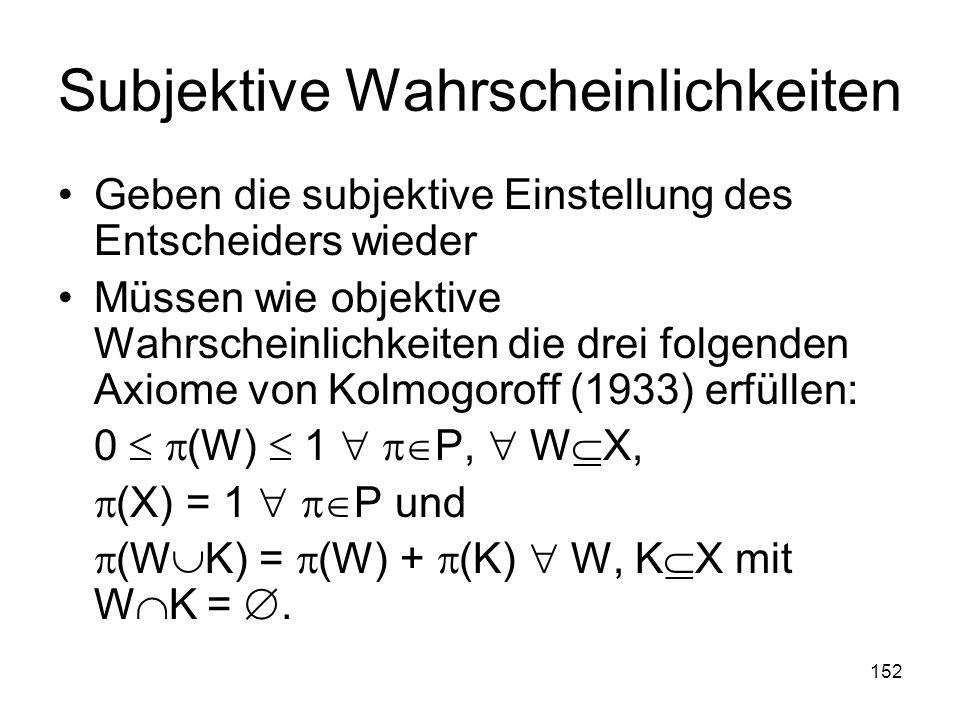 152 Subjektive Wahrscheinlichkeiten Geben die subjektive Einstellung des Entscheiders wieder Müssen wie objektive Wahrscheinlichkeiten die drei folgenden Axiome von Kolmogoroff (1933) erfüllen: 0 (W) 1 P, W X, (X) = 1 P und (W K) = (W) + (K) W, K X mit W K =.