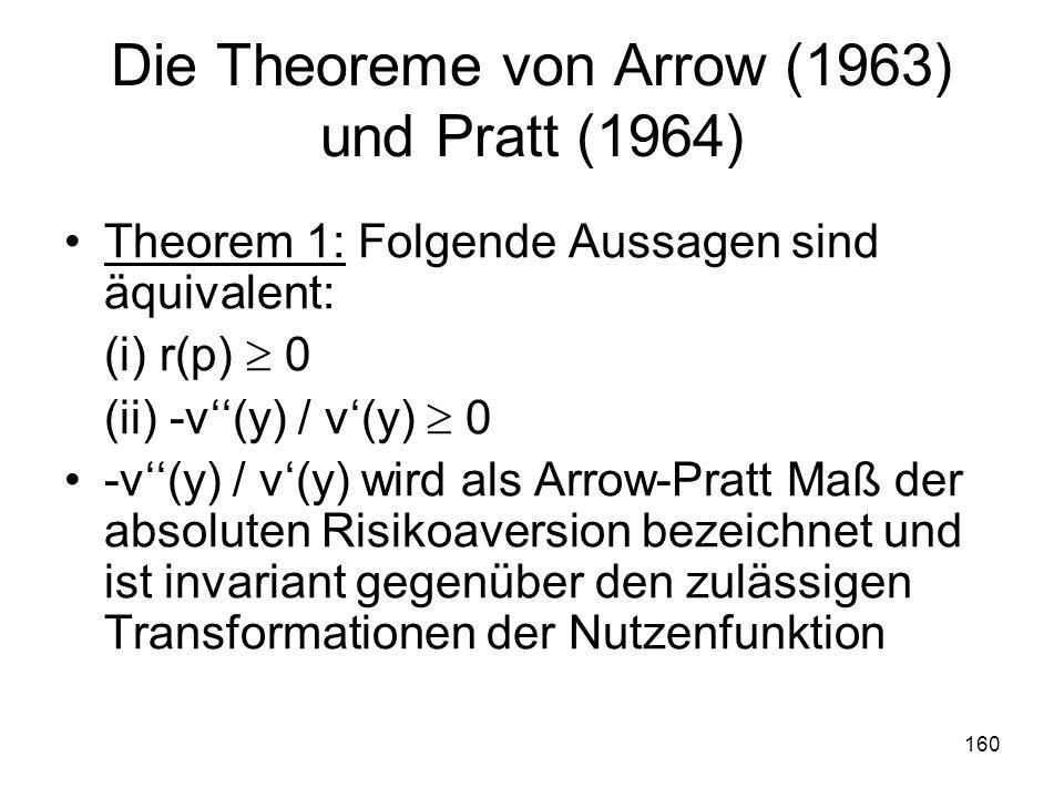 160 Die Theoreme von Arrow (1963) und Pratt (1964) Theorem 1: Folgende Aussagen sind äquivalent: (i) r(p) 0 (ii) -v(y) / v(y) 0 -v(y) / v(y) wird als Arrow-Pratt Maß der absoluten Risikoaversion bezeichnet und ist invariant gegenüber den zulässigen Transformationen der Nutzenfunktion