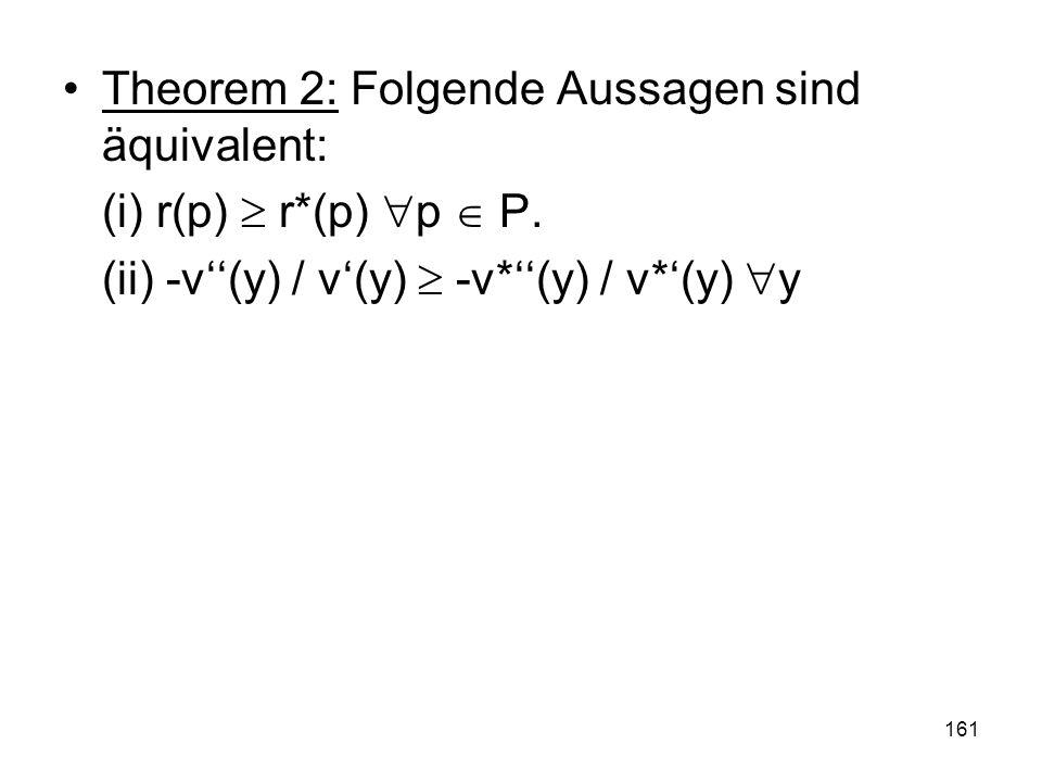 161 Theorem 2: Folgende Aussagen sind äquivalent: (i) r(p) r*(p) p P.