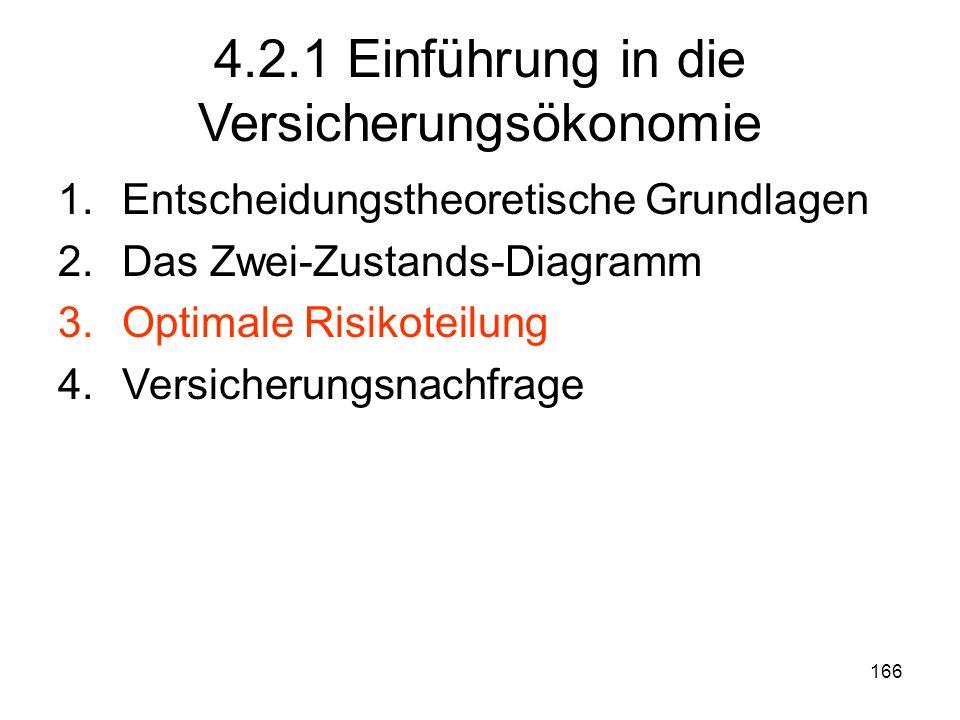 166 4.2.1 Einführung in die Versicherungsökonomie 1.Entscheidungstheoretische Grundlagen 2.Das Zwei-Zustands-Diagramm 3.Optimale Risikoteilung 4.Versicherungsnachfrage