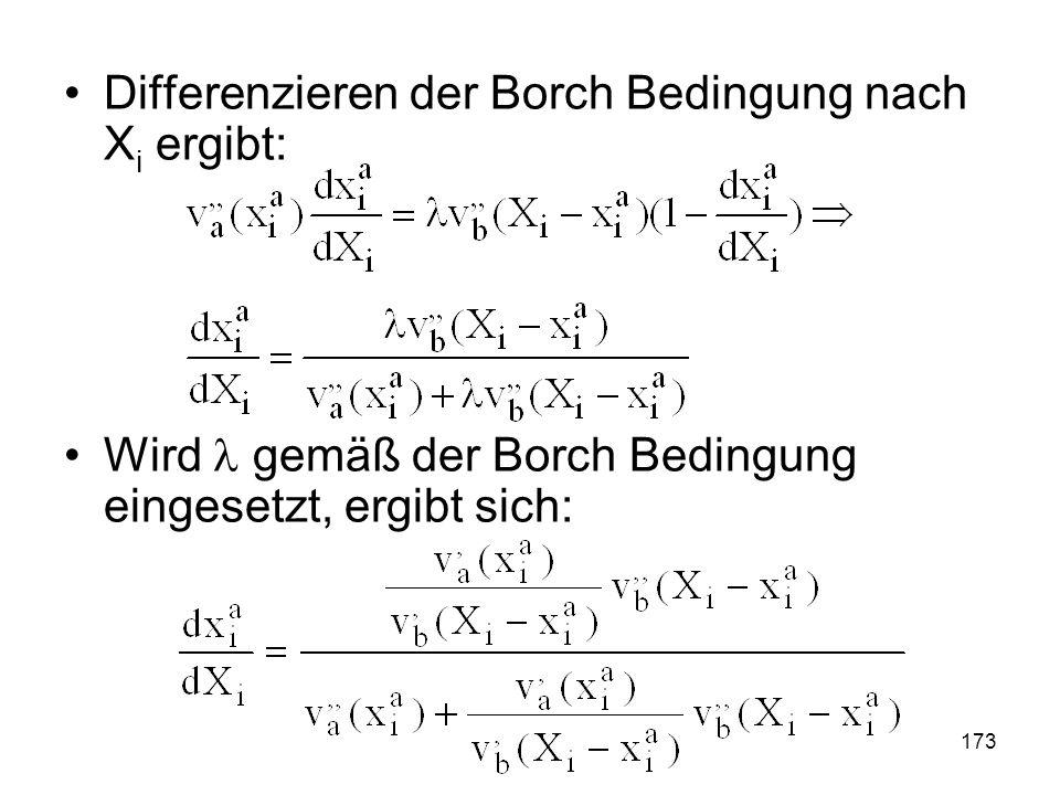 173 Differenzieren der Borch Bedingung nach X i ergibt: Wird gemäß der Borch Bedingung eingesetzt, ergibt sich: