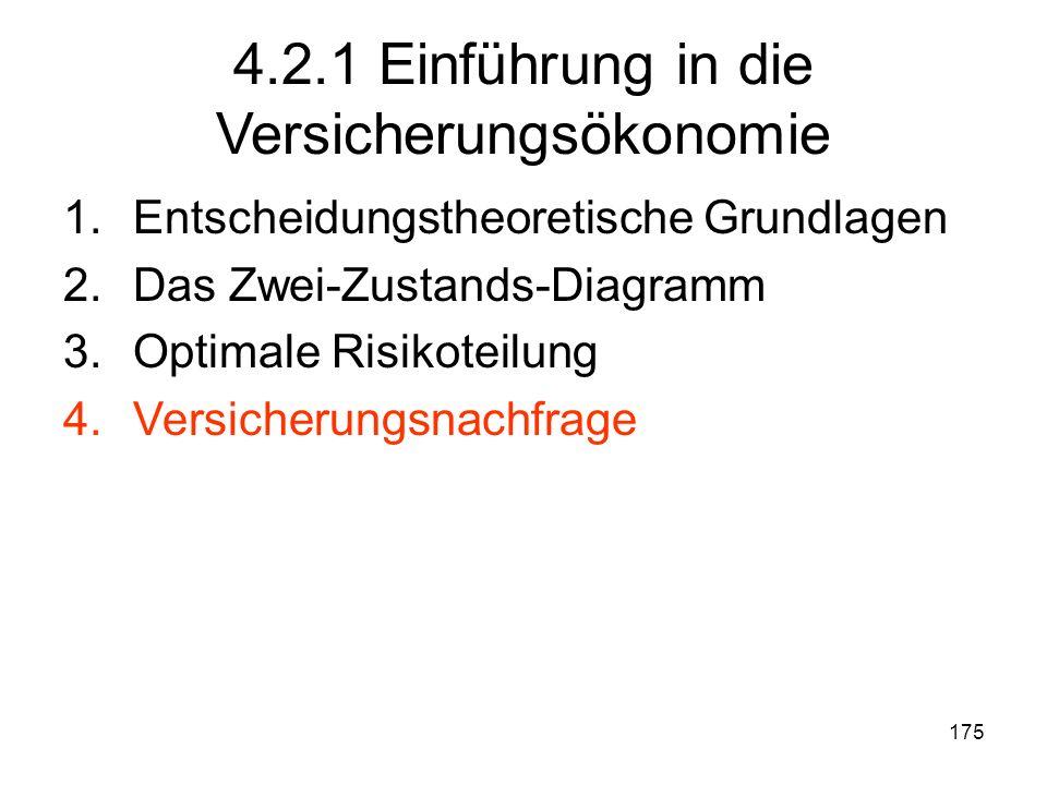 175 4.2.1 Einführung in die Versicherungsökonomie 1.Entscheidungstheoretische Grundlagen 2.Das Zwei-Zustands-Diagramm 3.Optimale Risikoteilung 4.Versicherungsnachfrage